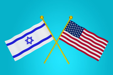 Flags of USA and ISRAEL Side by side as symbol of solidarity