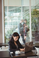 Businesswoman using laptop in cafeteria