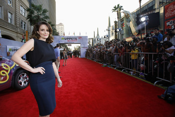 "Cast member Tina Fey poses at the premiere of ""Muppets Most Wanted"" at El Capitan theatre in Hollywood"