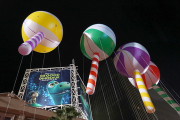 Lollipop balloons float down Hollywood Boulevard at the 84th Annual Hollywood Christmas Parade in the Hollywood section of Los Angeles