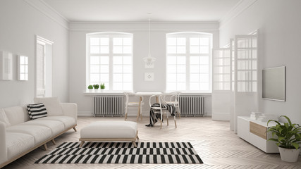 Bright minimalist living room with sofa and dining table, scandinavian white interior design