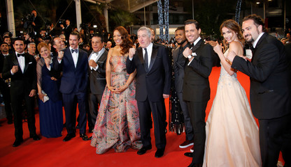 """Director Jonathan Jacubowicz and cast members pose on the red carpet for the screening of the film """"Hands of stone"""" out of competition at the 69th Cannes Film Festival in Cannes"""