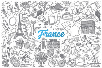 Hand drawn France doodle set background with blue lettering in vector