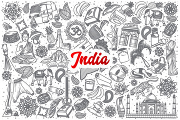 Hand drawn India doodle set background with red lettering in vector
