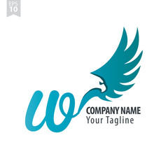 Initial Letter W Logo With Eagle or Hawk Icon Design Template