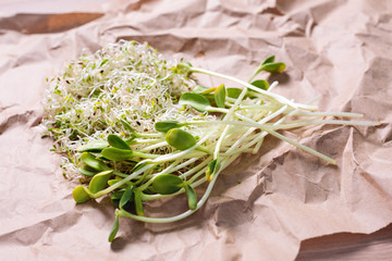 Mixed organic micro greens on craft paper. Fresh sunflower and heap of alfalfa micro green sprouts for healthy vegan food cooking. Healthy food and diet concept. Cut microgreens, top view