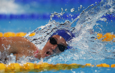 Spain's Mireia Belmonte Garcia swims in the women's 400m individual medley final during the World Swimming Championships at the Sant Jordi arena in Barcelona