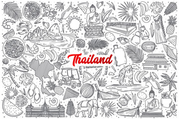 Hand drawn Thailand doodle set background with red lettering in vector
