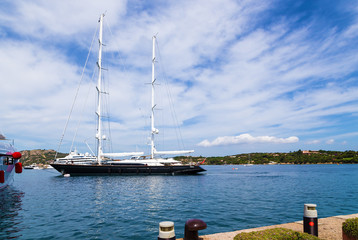 The island of Sardinia, Italy. Picturesque yacht harbor in Porto Cervo