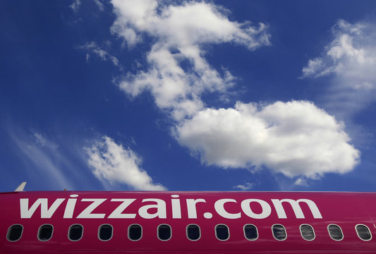 Wizz Air's logo is seen on an aircraft parked at Budapest Airport