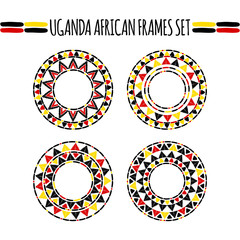 Tribal round frames collection vector. African Uganda sunny ethnic decorative elements set. Unique design for safari logos, Africa products badge, labels or tattoo.