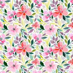Seamless pattern with floral print, bright summer pattern, flowers, foliage..