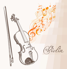piano line art hand drawn and flowing musical lines, clef and notes. vector illustration.