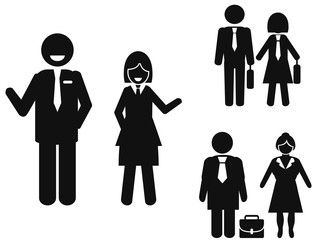 businessman and businesswoman pictogram