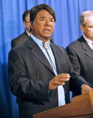 Oneida Indian Nation Representative Halbritter speaks during an announce to introduce a resolution calling for professional sports teams to stop using racial slurs as mascots during a press conference at the State Capitol in Albany