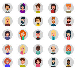 Set of twenty five avatar vector icons. Flat style