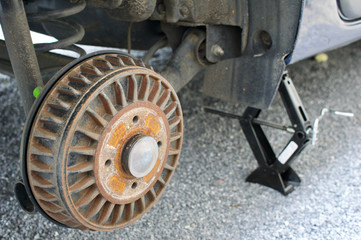Close-up view on a drum brake of a car