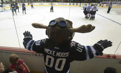 Winnipeg Jets mascot Mick E. Moose watches the action during the Jets NHL pre-season hockey game against the Washington Capitals in Belleville