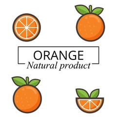 cartoon orange with text set