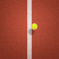 Tennis ball about to drop on line, overhead view