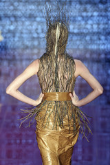 A model presents a creation from Samuel Cirnansck's collection during Sao Paulo Fashion Week Winter 2011 in Sao Paulo