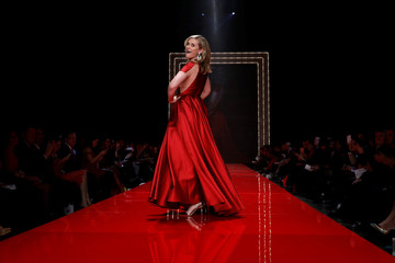 Actor Bonnie Somerville takes part in the American Heart Association's Go Red For Women Red Dress Fall/Winter show during New York Fashion Week in the Manhattan borough of New York