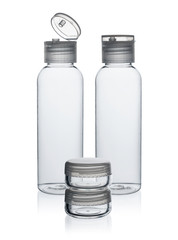 Plastic bottles and jar for cosmetics