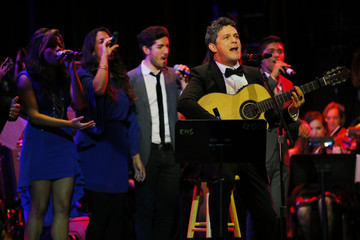 Musician Alejandro Sanz performs with Berklee College of Music students after receiving an honorary degree from the college in Boston