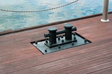 Iron bollard on a pier