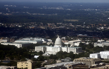 The Unites States Capitol building is seen in an aerial view