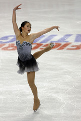 Zhang of the U.S. performs in the ladies free skate during Skate America figure skating competition in Portland