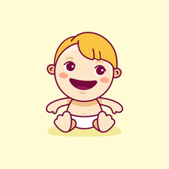 Vector logo design template in cartoon flat linear style - little smiling baby