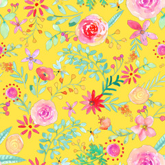 Watercolor hand painted rose floral seamless pattern