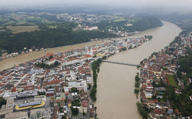 An aerial image shows the flooded three-rivers city of Passau in south-eastern Bavaria