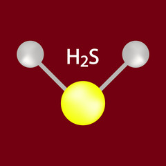 Hydrogen Sulfide (H2S) Molecule Color Icon Symbol Design. Vector illustration isolated on brown  background. Toxic gas with the odor of rotting eggs.
