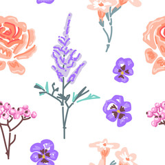 Botanical flower seamless pattern. Flowers isolated on white background. Freehand drawing. Vector illustration eps 10