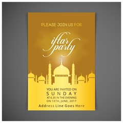 Search photos eid al adha elegant iftar party invitation card design decorated on dark yellow card on grey background stopboris Image collections