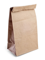 Brown paper bag isolated on white background with clipping path.