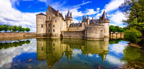 Fotorolgordijn Kasteel Beautiful medieval castle Sully-sul-Loire. famous Loire valley river in France
