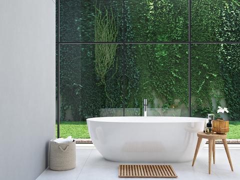green spa bathroom. 3d rendering