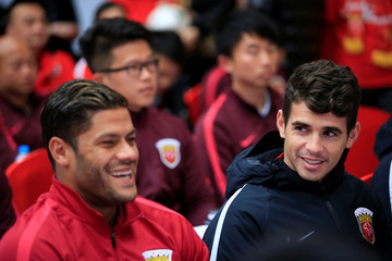 Brazilian soccer players Hulk and Oscar attend the 2017 SIPG Football Club's season mobilization of the Chinese Super League, in Shanghai