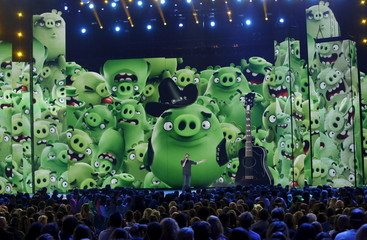 """File photo shows a view of the stage stage as show host Blake Shelton speaking during an """"Angry Birds"""" movie promo at Nickelodeon's 2016 Kids' Choice Awards in Inglewood"""