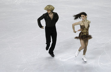 Davis and White perform during the short dance program at the U.S. Figure Skating Championships in San Jose