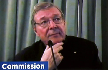 Still image of Australian Cardinal George Pell on a screen via video link from Rome as he testifies at Australia's Royal Commission into Institutional Response to Child Sexual Abuse in Sydney, Australia