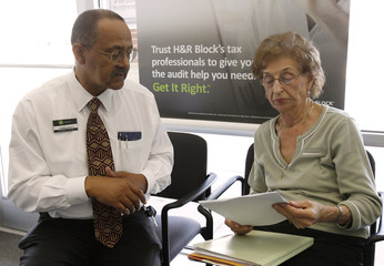 A customer waits at a tax preparation business in northern Virginia