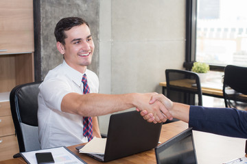 Businesspeople shaking hands greeting each other