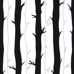 Seamless pattern with trees for print on paper, invintations, cards. Background with black and white trees. Forest imitation pattern