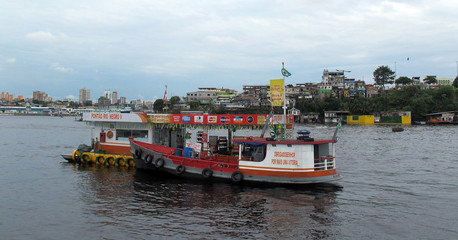A gas station is pictured at the floating village of Villa Nova along the Amazon river near Manaus