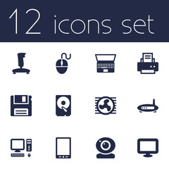 Set Of 12 Notebook Icons Set.Collection Of Fan, Control Device, Peripheral And Other Elements.
