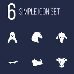 Set Of 6 Beast Icons Set.Collection Of Kine, Diver, Lamb And Other Elements.